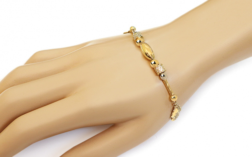Gold Two Toned Bracelet with Charms and Zircons Palmyra - IZ13623