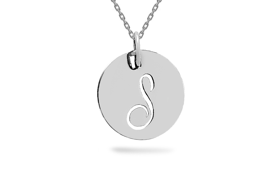 White gold pendant with letter S - IZ6432A