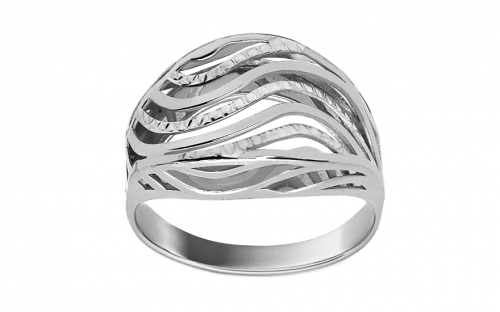 Gold ring with wavy pattern - IZ11399A