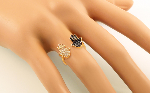 Gold ring with zircons Fatima's hand (Hamsa) - IZ13313 - on a mannequin