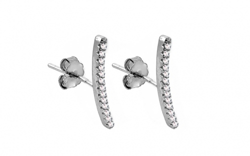 Rhodium plated 925Sterling silver earrings with cubic zirconia - IS1910
