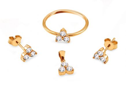Gold set with zirconia flowers