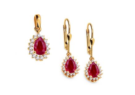 Gold set with pink and clear zircons