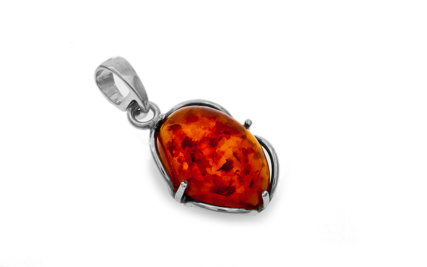 Sterling Silver Ladies amber pendant - IS95