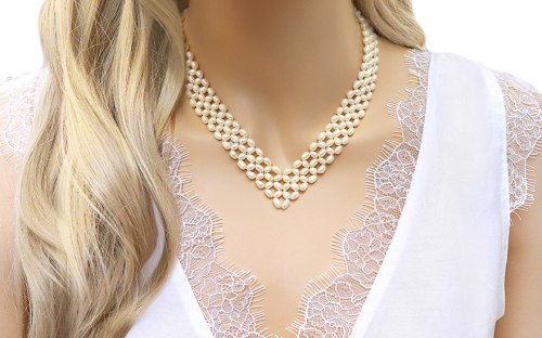 Ladies pearl necklace - IS123 - on a mannequin