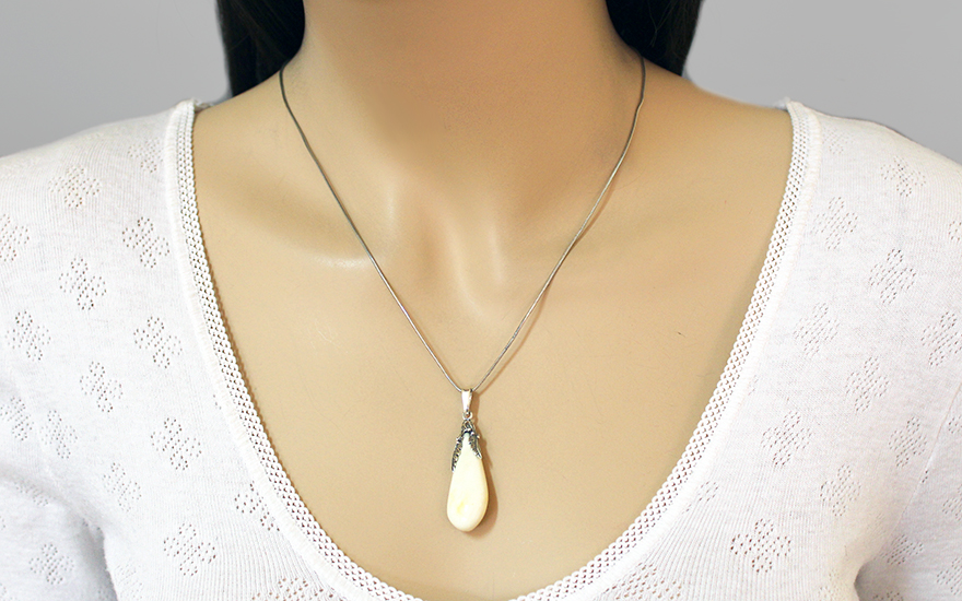 Lady's pendant with amber Yellow Big - IS81PR