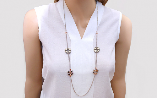 Long Sterling Silver Necklace 90 cm with gold plating - OZC291