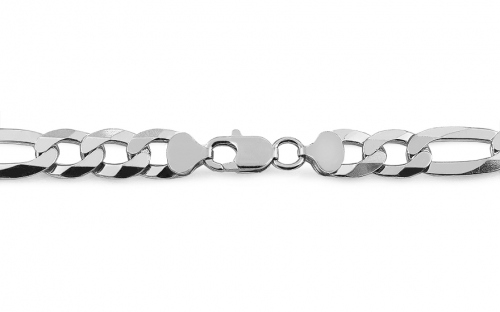 Mens Sterling silver chain Figaro 8 mm - IS1234
