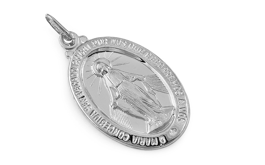 White gold miraculous medal of the Immaculate conception of Virgin Mary - IZ7639A