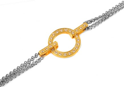 925 sterling silver bracelet Golden Ring with cubic zirconia