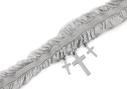 Choker necklace with silver crosses