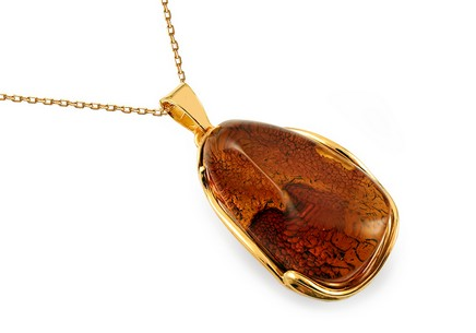Gold Coated Silver Necklace with Amber