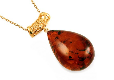 Gold Coated Silver Necklace with Amber Tear