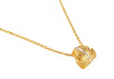 Gold plated 925 sterling silver necklace feather