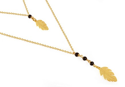 Gold plated 925 sterling silver necklace with feathers