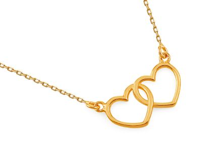 Gold plated Sterling Silver Necklace Hearts