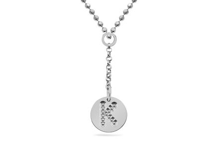 Rhodium plated 925Sterling Silver chain with dangle pendant Alphabet on disc charm in sterling Letter K