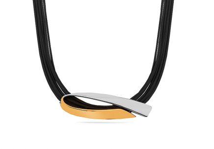 sterling silver rubber jewellery necklace combined Gold and Rhodium plated