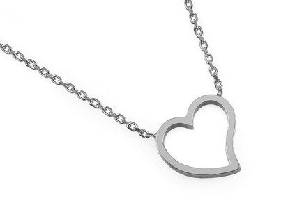 Rhodium plated 925Sterling Silver chain with dangle pendant and heart