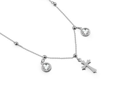 Silver Choker with Cross and Zircons