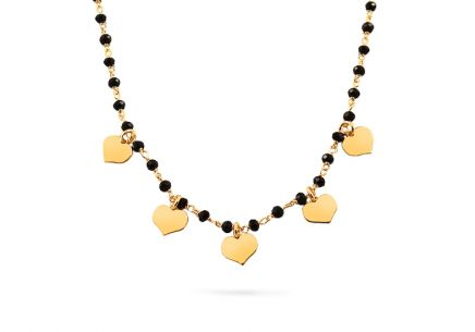 Silver gold-plated necklace with hearts and black stones