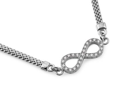 rhodium plate 925Sterling Silver infinity necklace with cubic zirconia