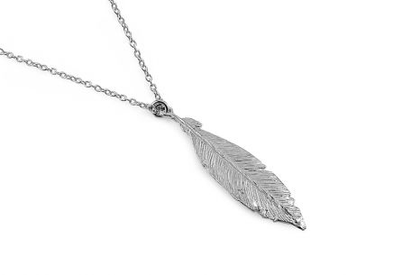 Rhodium plated 925Silver necklace with feather fashion