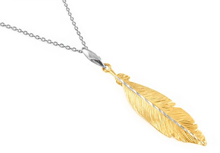Sterling Silver necklace with a plated gold feather