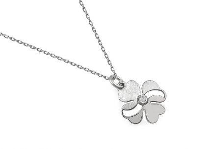 Rhodium plated Sterling Silver necklace with a flower pendant