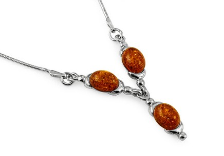 Silver necklace with amber
