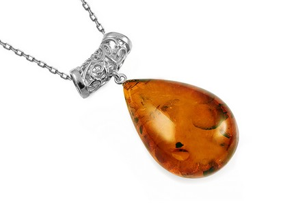 Silver necklace amber drop