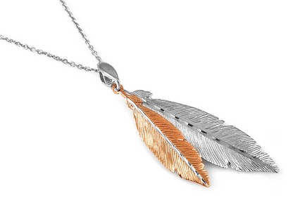 Sterling Silver necklace with pink feathers
