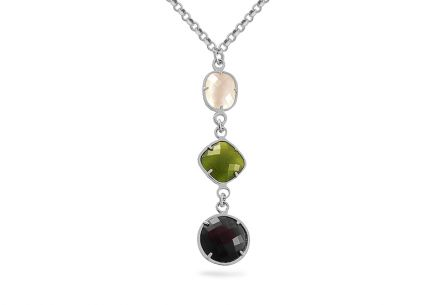 Rhodium plated Silver necklace with stones