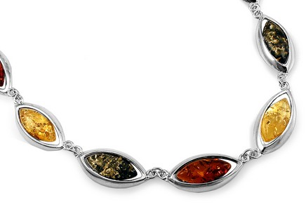 Silver necklace with three-tone amber