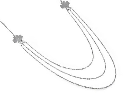 Sterling Silver Necklace with Four Leaf Clovers