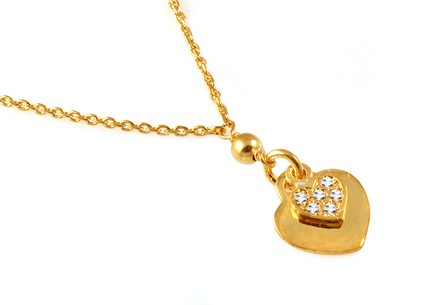 Gold Plated Sterling Silver Necklace with CZ Sweetheart