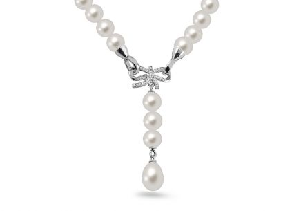 925Sterling Silver necklace Pearl with cubic zirconia