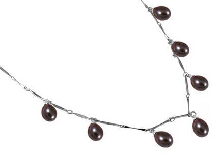 sterling Silver necklace with brown pearls