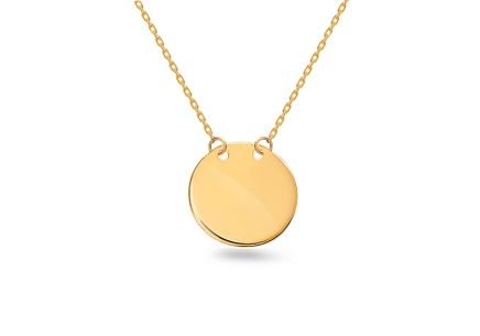 Gold necklace with blank engraved plate