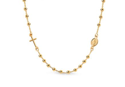 Gold necklace rosary