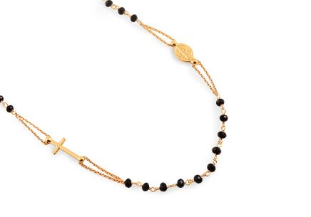 Gold plated silver Rosary necklace with black beads