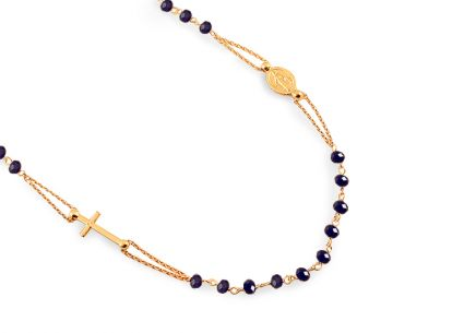 Gold plated silver Rosary necklace with blue beads