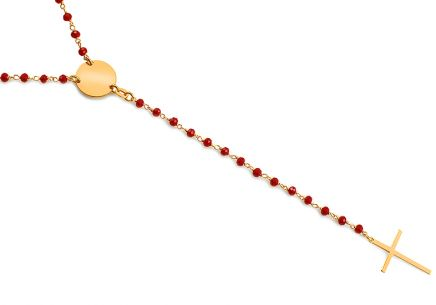 Long silver Rosary necklace with red beads