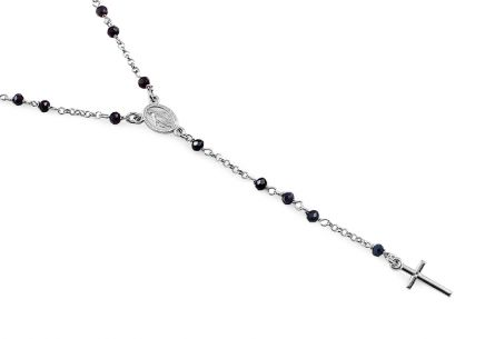 Silver necklace with black stones of rosary