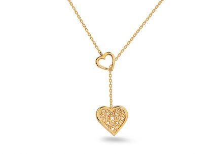 Gold necklace with hearts