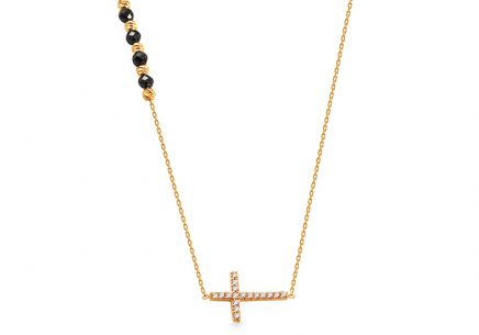 Gold cross necklace with black zircons