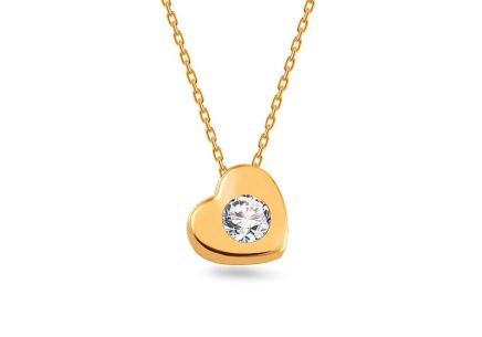 Gold necklace with zirconia heart pendant