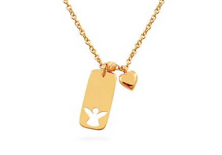 Gold bar cut out heart nameplate necklace