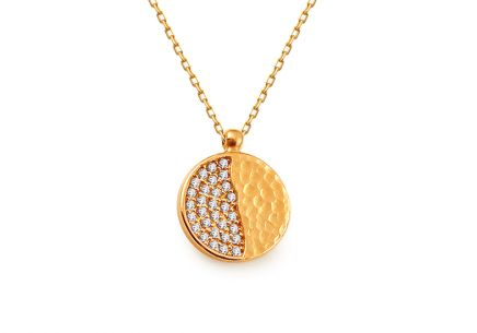 Gold necklace with round pendant with zircons