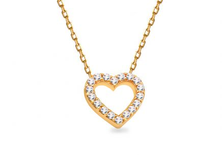 Gold zirconia inlaid heart necklace